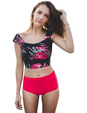 Trajes de Baño para Mujer Bikinis Fuera del Hombro Triangl Bañadores Mujer Bikini Playa Talle Alto Bandeau Push...