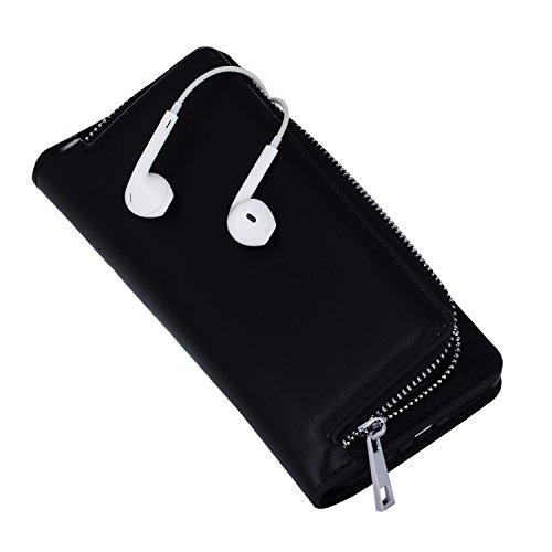 Meimeiwu Hohe Qualität herausnehmbare Schutzhülle - 2 Aufstellmöglichkeiten Schutz Zipper Tasche Holster Hülle und Brieftasche für iPhone 7 - Rot Schwarz