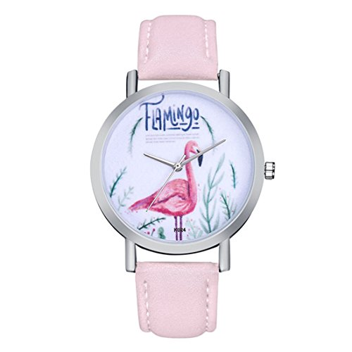 Souarts Damen Armbanduhr Einfach Stil weiß Zifferblatt mit Flamingos Muster Analoge Quarz Uhr Rosa