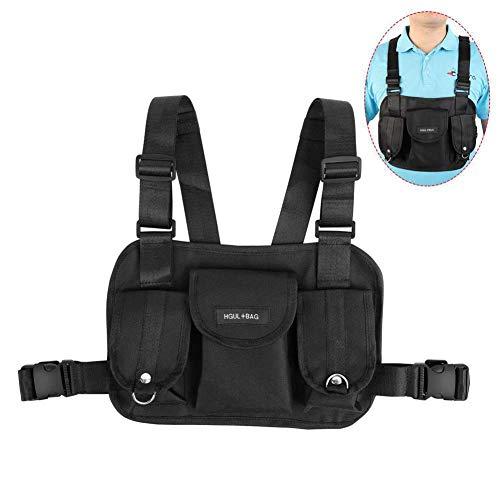 Yalatan Chest Rig Bag Brusttasche, Hip Hop Streetwear Funktionelle Taktische Brusttasche, Umhängetasche Radio Harness Chest Front Pack