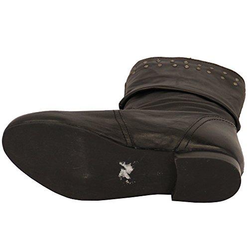 Filles Cuir Bottes Plates Ecole Pour Dames Mi-mollet Motard Enfants Cuir Suédé Look Clous Chaussure ELENASWE - Noir