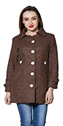nAzAqAt women woolen polka dotted long coat base colour chocolate brown