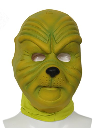 Grinch Kostüme Halloween (Halloween Grinch Maske Deluxe Grün Latex Helm Cosplay Kostüm Zubehör für Erwachsene Kleidung Verrücktes Kleid)