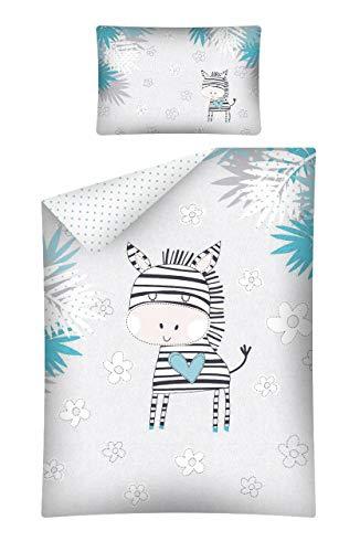 Kinderbettwäsche viele Designs 2-tlg. 100% Baumwolle 40x60 + 100x135 cm (Zebra türkis)