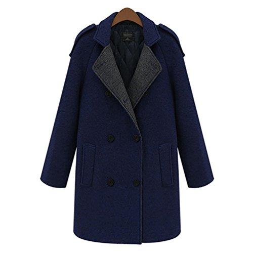 Baymate Mantel Damen Winterjacke Verdickte Parka mit Kapuzen Jacket Trenchcoat Outerwear Dunkel Blau