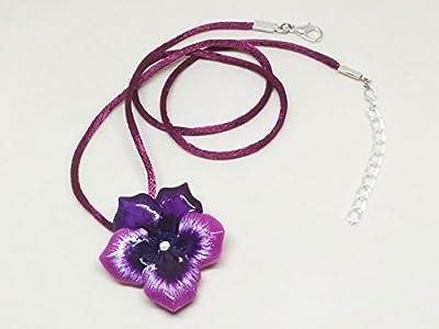 Pendentif pensée, collier pensée, pendentif floral, pendentif fleur, pendentif violet, collier violet, pendentif printemps