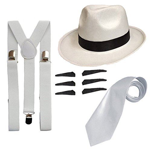 DELUXE 1920S GANGSTER FANCY DRESS SET - TRILBY HAT + SUSPENDER BRACES +TIE (White ()