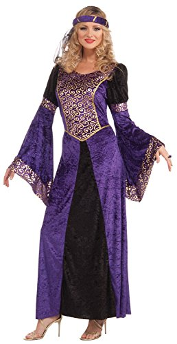 Renaissance Queen Kostüm Adult - Ladies Sexy Purple Medieval Renaissance Tudor Queen Fancy Dress Costume Outfit UK 10-12-14 (One Size (10-14))