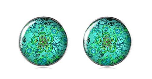 tizi Schmuck 925Sterling Silber Ohrring Ohrstecker 12mm Handgefertigt für Damen und Mädchen grün Blumen Perfekte Geschenk oder für (Kostüm Australien Schmuck)