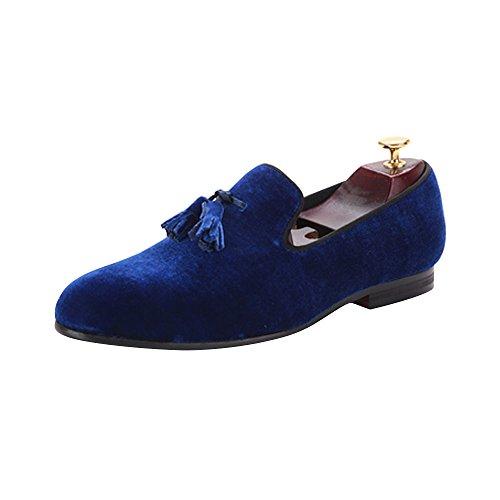 Herren Samt Schuh Britische Stil Loafers Ohne Verschluss Flach mit Samt Quaste Saphirblau