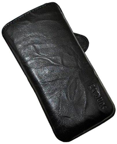 Original Suncase Tasche für / Apple iPhone 5C / Leder Etui Handytasche Ledertasche Schutzhülle Case Hülle - Lasche mit Rückzugfunktion* In Wash-Blau Wash-Schwarz