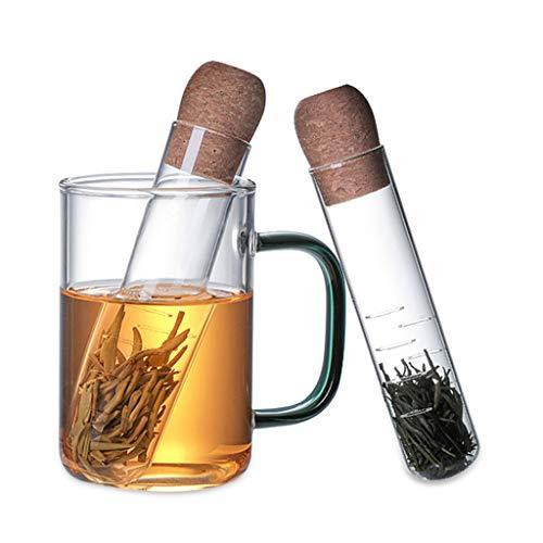 Luccase Teesieb Kit Transparentes Reagenzglas Form Tee-Leck Hitzebeständiges Glas Teezubereiter Teefilter Teetasse mit Reinigungsbürste Teile