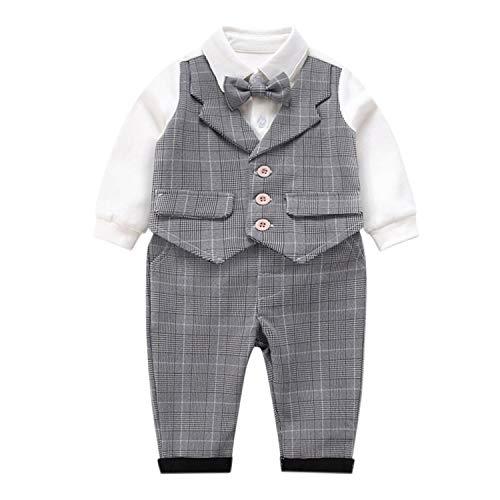 De feuilles Kinder Bekeleideung Set Baby Geschenk Baumwolle 2stk Gentleman Neugeborenes Langarm Anzug Baby Pants + Shirt Kleidung Suit Party (12-14 Monate 100cm, Langarm Gentlemann Grau) -