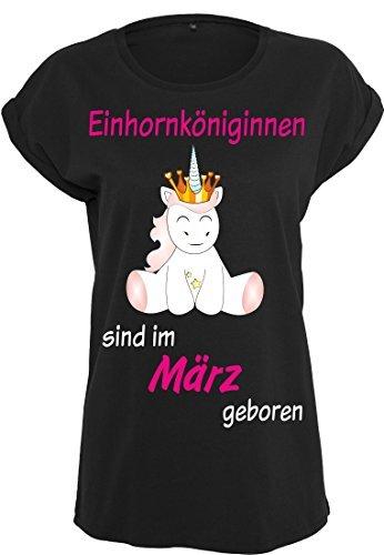 Damen Ladies Extended Shoulder Tee T-Shirt Sommershirt Damenshirt Unicorn Queen Einhorn Einhornköniginnen sind geboren (schwarz) März