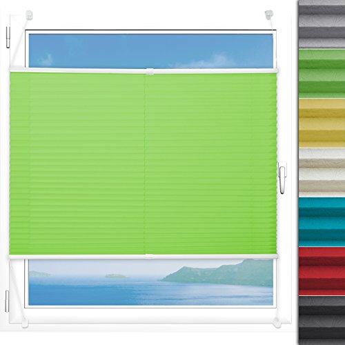 Plissee Rollo Magic | moderner Sichtschutz mit Crushed Optik | Fensterrollo mit Klemmfix ohne Bohren | Klemmrollo in verschiedenen Farben und Größen ( Helles Grün - 75 cm breit und 150 cm lang )