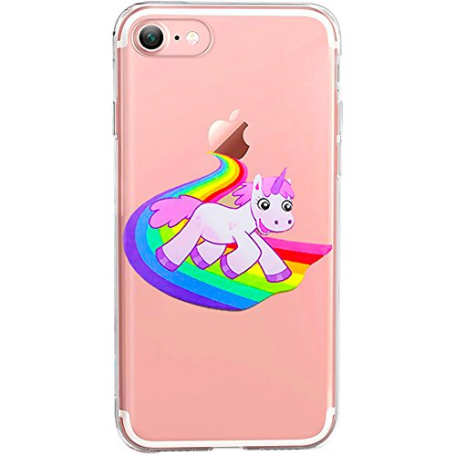 TheSmartGuard Hülle kompatibel für iPhone 8/7 | transparente Schutzhülle aus Silikon | Einhorn reitet auf Regenbogen |Einhorn Regenbogen Unicorn Motiv | Aus TPU Silikon (Einhorn Mädchen Reitet)