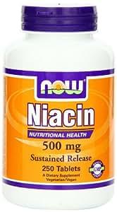Now Foods, Niacin, Sustained Release 500mg x250tabs - unterstütztes Freigabeniacin