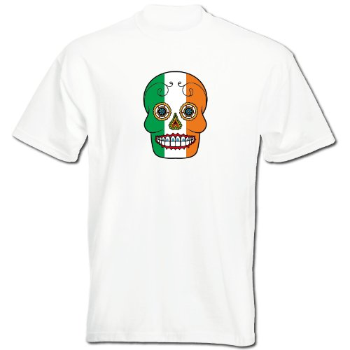 T-Shirt - Irland - Sugar Skull - Fahne - Herren - unisex Weiß