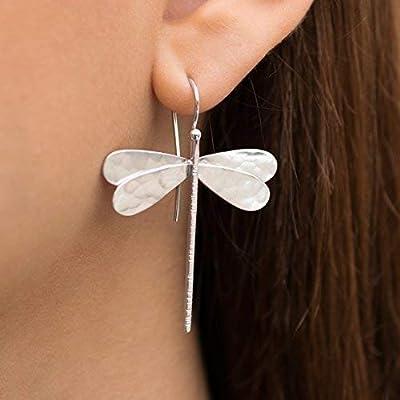 Boucles d'oreilles libellule en argent sterling 925 faites à la main par Emmanuela, grandes boucles d'oreilles insectes pendantes, bijoux insolites et élégants, boucles d'oreilles hypoallergéniques