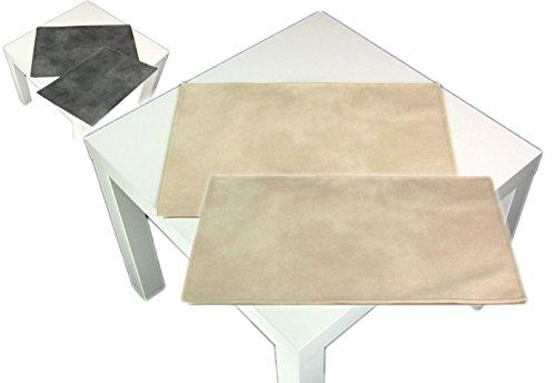 Hossner 2 teiliges Platzset Ecru abwaschbar Waschlederoptik Platzmatte Platzdeckchen Tischset (Creme)