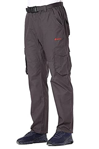 Men's Belted Elastic-Waist Cargo Trousers - Regular Straight Fit - 100% Cotton