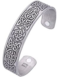 Slavic Kolovrat Sun Symbol Celtic Knotwork Metal Bracelet Health Care Cuff Bangle