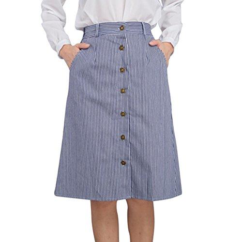 Jupe Midi Évasé Jupe de ceinture élastique Jupe de boutons pour Femme Bleu Marine