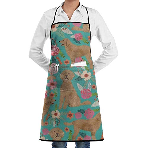 VAICR Kochschürze Küchenschürze,Apron Bib Golden Doodle Floral Dog School Rucksack College Bookbag Chef Apron with Bib Apron Kitchen Apron Adjustable Extra Long Ties for Women&Men BBQ Baking and -