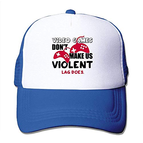 AOHOT Herren Damen Baseball Caps,Hüte, Mützen, Classic Baseball Cap, Video Games Don't Make Us Violent. Lag Does Mesh Trucker Cap-Classic Dad Pom-pom Beret Hat