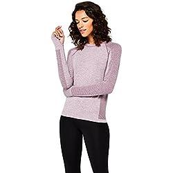 AURIQUE Camiseta Deportiva Mujer, Morado (Purple Gumdrop Marl), 38 (Talla del fabricante: S)
