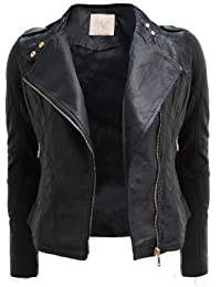 CANDY FLOSS LADIES BIKER JACKET CROP LEATHER GOLD ZIP STUD COAT SIZE 8-14