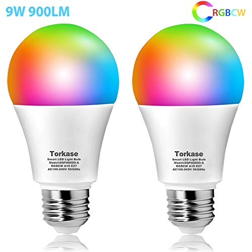Torkase Smart Led Lampe E27 Alexa Glühbirnen Mehrfarbige Dimmbare Lampe RGB WiFi Glühbirnen, A60, 2700K to 6500K, 900 Lumen, Ersetzt 80W, Kompatibel mit Alexa Google Home IFTTT, 2Pcs