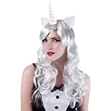 Peluca larga con orejas de unicornio color blanco mágico Pony ondulado pelucas  para Halloween fiesta disfraz 9b5553dbe5a8