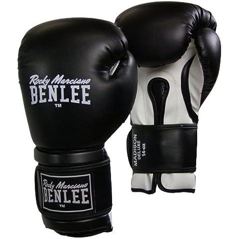 BENLEE Rocky Marciano Guantoni da boxe Boxing Madison Deluxe, Nero (Schwarz/Weiß), 10