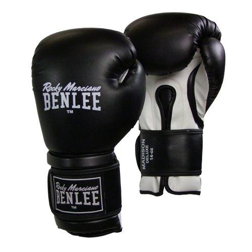 BENLEE Rocky Marciano Boxhandschuhe Boxing Gloves Madison Deluxe, Schwarz/Weiß, 10, 194021
