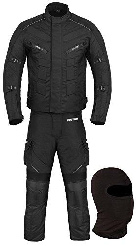 Wasserdichtes Motorrad Klage Gewebe (Jacke + Hose + Balaclava) Motorradbekleidung für alle Wetter - Cordura Fabric - CE Armour - 6 Packs Entwurf - Full Black - Small / 36 Inch Chest