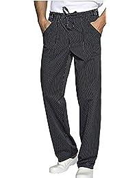 3emme confezione Pantalone da Chef gessato Nero con Tre Tasche Applicate f9a8468127e6