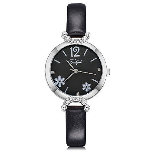 Vegan Diamant (Lazzgirl Art- und Weisefrauen-schicke künstliche Diamant-Blume gerundete analoge Zeiger-Uhr(Beige, Weiß, Schwarz, Rot, Blau, Braun,One Size))