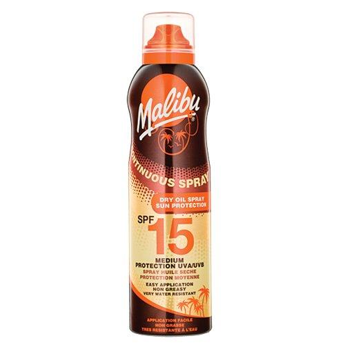 Malibu Continuous Dry Oil Spray Medium Sun Protection, SPF 15, 175ml -