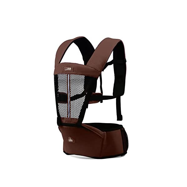 SONARIN Multifunctional Breathable Hipseat Baby Carrier,Front and Back,Breathable mesh Backing,Ergonomic,One Size Fits All,6 Carrying Positions,100% Infinity Guarantee,Ideal Gift(Brown) SONARIN Applicable age and Weight:0-36 months of baby, the maximum load: 20KG, and adjustable the waist size can be up to 44.9 inches (about 114cm). Material:designers choose comfortable and cool 100% cotton fabric. External use of 3D breathable mesh material, all-round breathable design, 15mm soft cushion, to the baby comfortable and safe experience. Side with small pockets so that you can put some daily necessities when you go outside. Description: EPP seat core, no deformation, baby sitting more comfortable.patented design of the auxiliary spine micro-C structure and leg opening design, natural M-type sitting. Widen the shoulder strap and belt will be effective to disperse the baby's weight to the shoulder and waist, so that mother more effort. 2