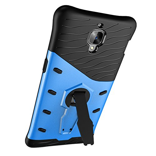 Für OnePlus 3 Neue Hybrid-Rüstung Schock Absorbtion Cover, 2 In 1 Durable TPU + PC Heavy Duty 360 ° Rotierende Stand Dual Layer Shockproof Case Cover ( Color : Silver ) Blue