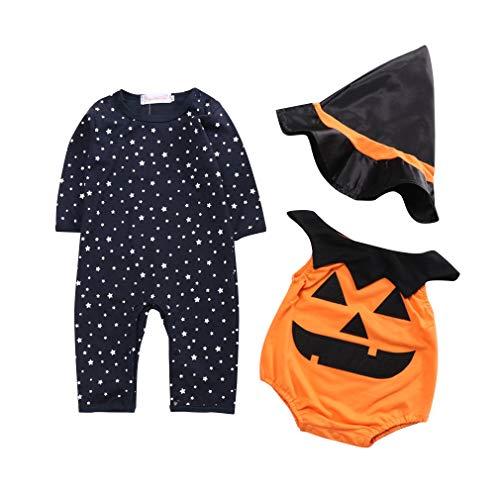 Lee little Angel Baby Kürbis Trikot + Hut dreiteilige Halloween Performance Kostüm (für 3-18 Monate) (3-6 Monate, kürbis)