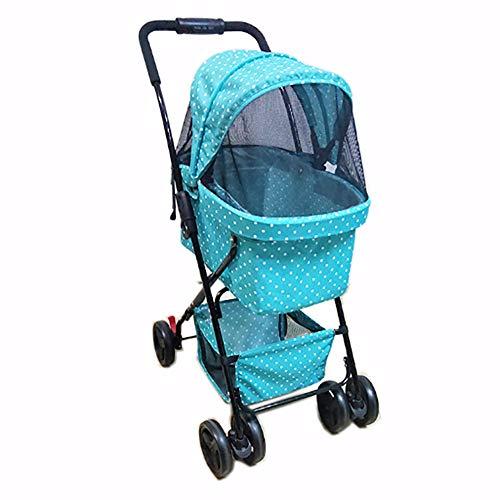 SHSHKO Dog/Cat Passeggino, Portatile Pieghevole Vettore Pet Walk All\'aperto/Shopping/Travel/64X36x48 Cm Caricamento 25Kg,Blue