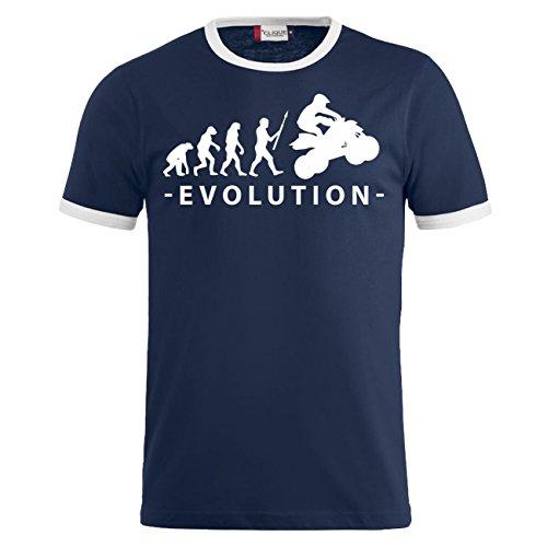 Männer und Herren T-Shirt Evolution Quad Dunkelblau/Weiß