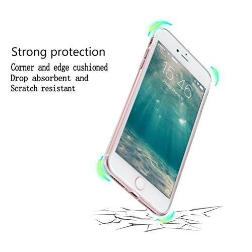 Custodia iPhone 7 [Pellicola Protettiva In Vetro Temperato], Bestsky Cover iPhone 7 Trasparente con Disegni Morbida Gel Silicone Antiurto Bumper Case, Giraffa Occhio