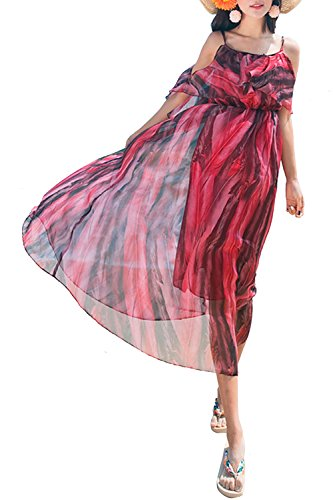 Creti Neues Strandkleid Böhmische Lange Chiffon Kleider Maxikleid Sommer Vacation, Größe  EU 38 / Herstellergröße L, Farbe Rot (Seiden-samt-party-kleid)
