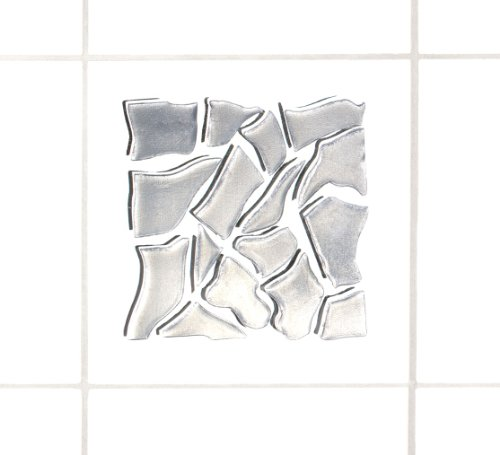 Wenko 18463100 3D-Fliesendekor Barcelona - 6-er Set, rückstandslos ablösbar, je 10 x 10 cm, silber
