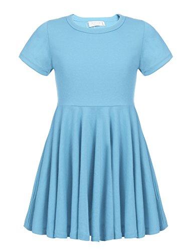 Kleid Mädchen Sommer A-Linie Kurzarm Baumwolle T-Shirt Kleider Freizeitkleidung Gr. 110-150 (Blaues Für Mädchen Kleid)