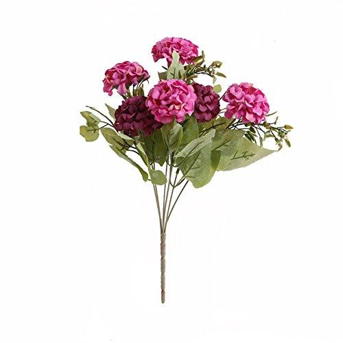YSBER 5 fiori artificiali CRISANTEMO fiori seta Bouquet Partito Decorazione Ufficio Casa Giardino Piante in vaso per San Valentino, compleanno, Natale regalo Purple+Red - Anemone Bouquet Da Sposa