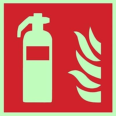 Brandschutzzeichen Symbolschild Feuerlöscher ISO Folie nachleuchtend &. selbstklebend 200x200mm